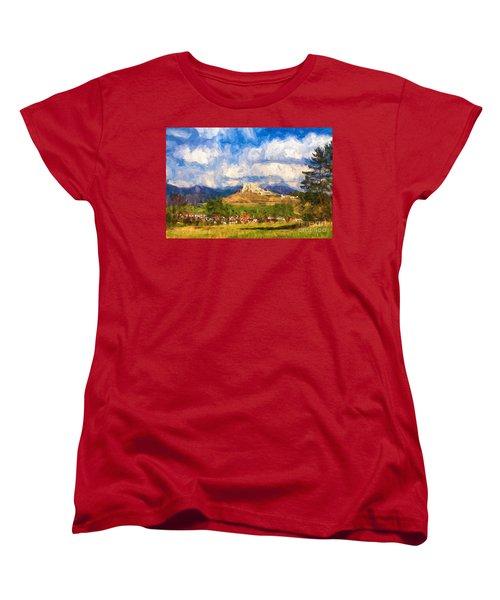 Castle Above The Village Women's T-Shirt (Standard Cut) by Les Palenik