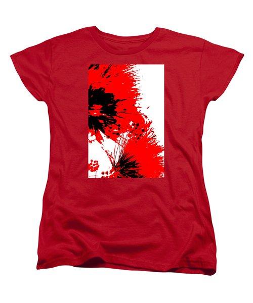 Splatter Black White And Red Series Women's T-Shirt (Standard Cut) by Betty Northcutt