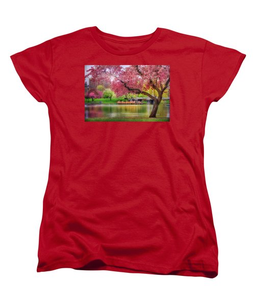 Women's T-Shirt (Standard Cut) featuring the photograph Spring Afternoon In The Boston Public Garden - Boston Swan Boats by Joann Vitali