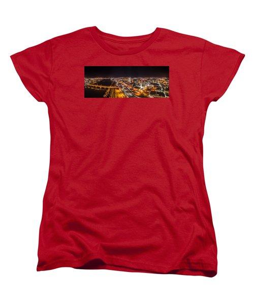 Springfield Massachusetts Night Long Exposure Panorama Women's T-Shirt (Standard Cut) by Petr Hejl