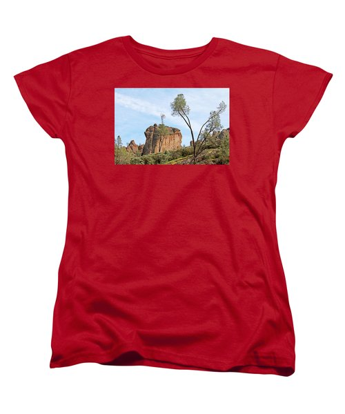 Women's T-Shirt (Standard Cut) featuring the photograph Square Rock Formation by Art Block Collections