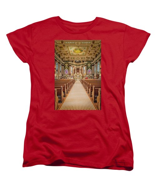 Women's T-Shirt (Standard Cut) featuring the photograph St Peter The Apostle Church Pa by Susan Candelario