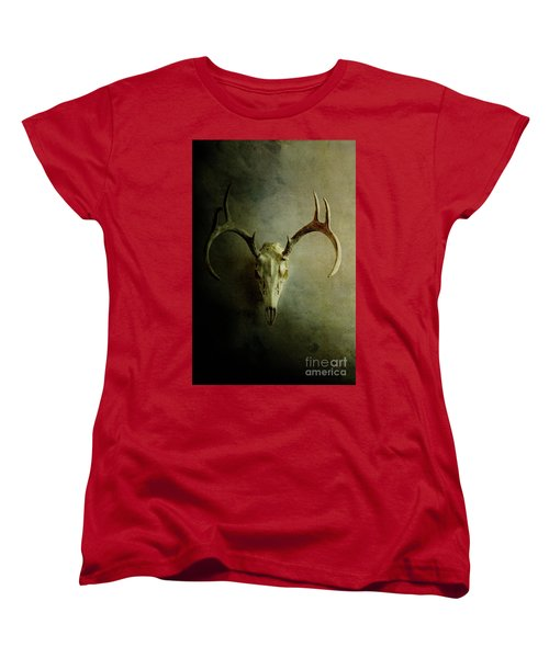 Women's T-Shirt (Standard Cut) featuring the photograph Stag Skull by Stephanie Frey