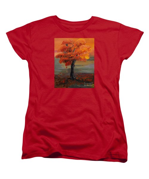 Stand Alone In Color - Autumn - Tree Women's T-Shirt (Standard Cut) by Jan Dappen