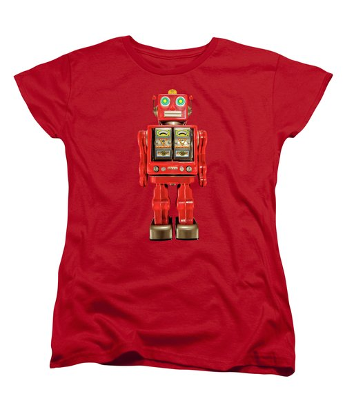 Star Strider Robot Red On Black Women's T-Shirt (Standard Cut) by YoPedro