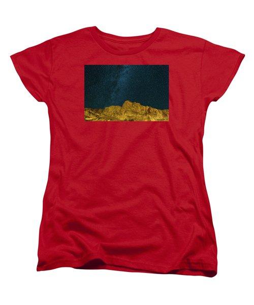 Starry Night Sky Over Rocky Landscape Women's T-Shirt (Standard Fit)