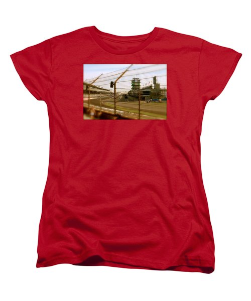 Women's T-Shirt (Standard Cut) featuring the photograph Start Finish Indianapolis Motor Speedway by Iconic Images Art Gallery David Pucciarelli