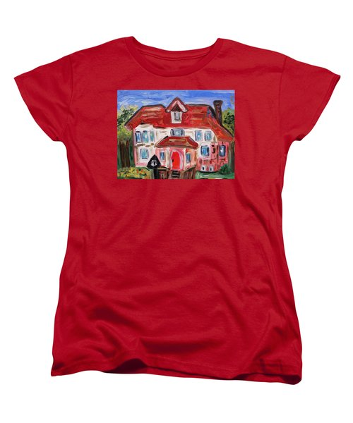 Women's T-Shirt (Standard Cut) featuring the painting Stately City House by Mary Carol Williams