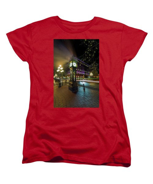 Steam Clock In Gastown Vancouver Bc At Night Women's T-Shirt (Standard Fit)