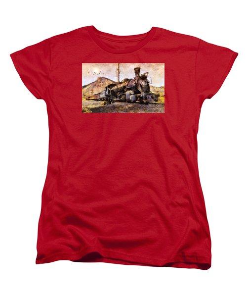 Women's T-Shirt (Standard Cut) featuring the digital art Steam Locomotive by Ian Mitchell
