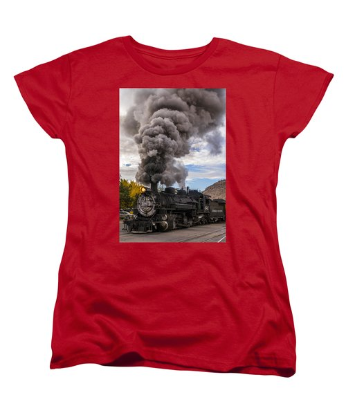 Women's T-Shirt (Standard Cut) featuring the photograph Steam Locomotive by Jerry Cahill