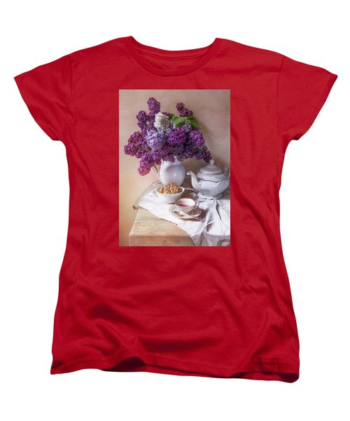 Women's T-Shirt (Standard Cut) featuring the photograph Still Life With Fresh Lilac And China Pots by Jaroslaw Blaminsky