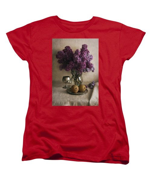 Women's T-Shirt (Standard Cut) featuring the photograph Still Life With Pears And Fresh Lilac by Jaroslaw Blaminsky