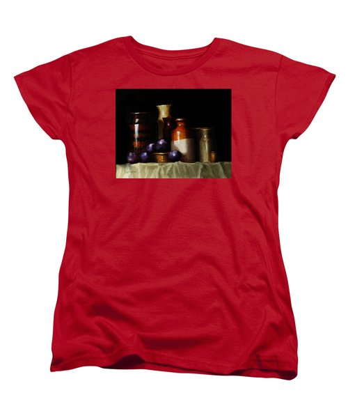 Women's T-Shirt (Standard Cut) featuring the painting Still Life With Plums by Barry Williamson