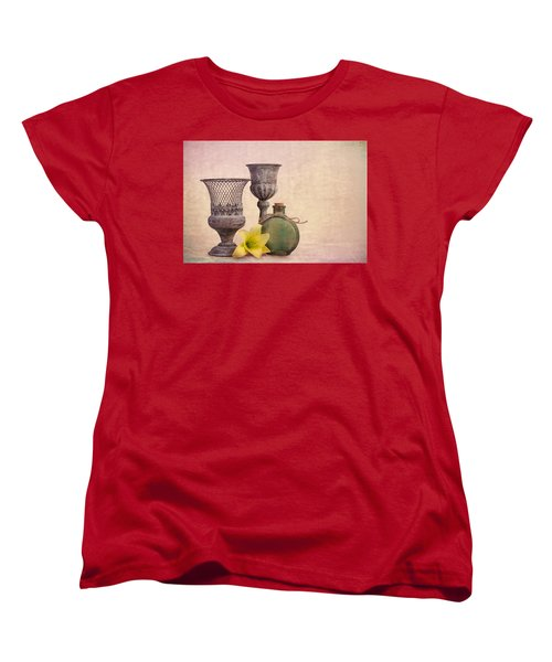 Women's T-Shirt (Standard Cut) featuring the photograph Still Life With Yellow Lily by Tom Mc Nemar