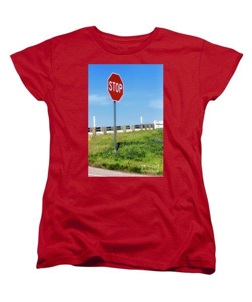 Stop For The Blue Bonnets Women's T-Shirt (Standard Cut) by Joan Bertucci