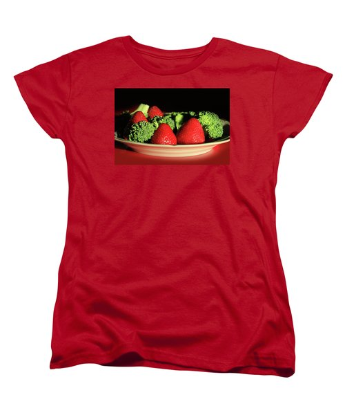 Strawberries And Broccoli Women's T-Shirt (Standard Cut) by Lori Deiter