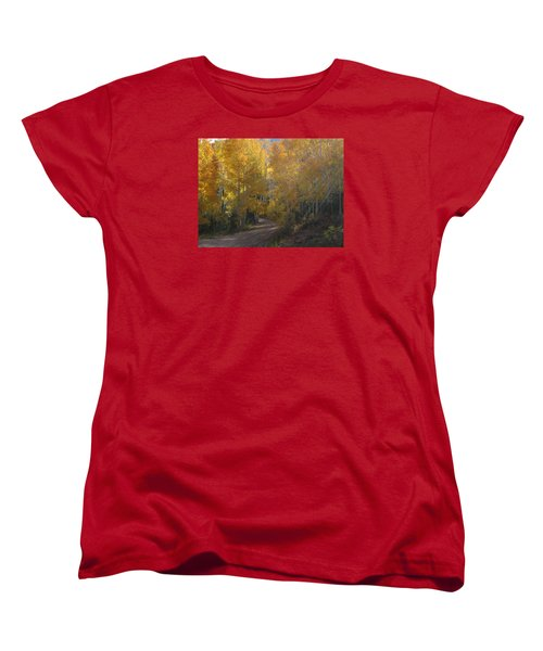 Women's T-Shirt (Standard Cut) featuring the photograph Streaming Light Paiute Trail Fremont Utah by Deborah Moen