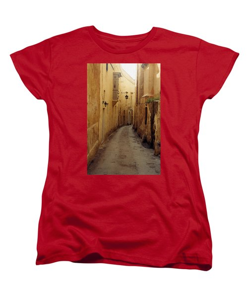 Women's T-Shirt (Standard Cut) featuring the photograph Streets Of Malta by Debbie Karnes