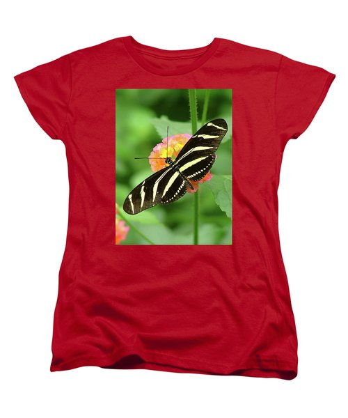 Women's T-Shirt (Standard Cut) featuring the photograph Striped Butterfly by Wendy McKennon