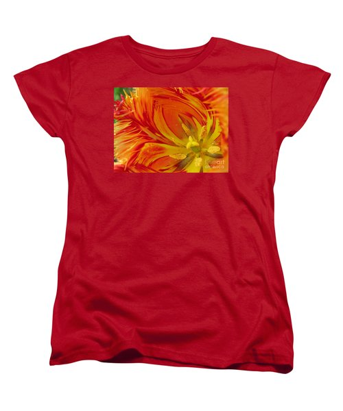 Striped Parrot Tulips. Olympic Flame Women's T-Shirt (Standard Cut) by Ausra Huntington nee Paulauskaite