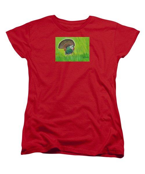 Strutting Turkey In The Grass Women's T-Shirt (Standard Cut) by Margaret Harmon