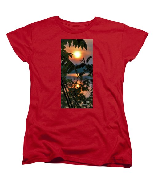 Sumac Sunrise At The Lake Women's T-Shirt (Standard Cut) by Henry Kowalski