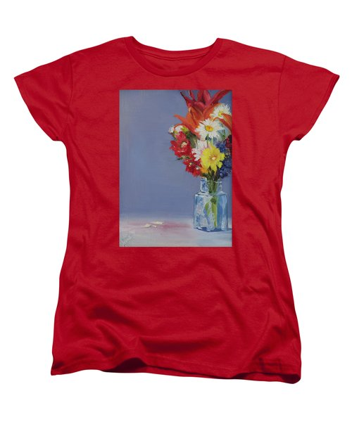 Women's T-Shirt (Standard Cut) featuring the painting Summer Bouquet by Jane Autry