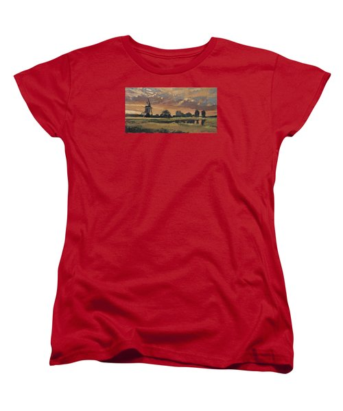 Women's T-Shirt (Standard Cut) featuring the painting Summer Evening In The Polder by Nop Briex