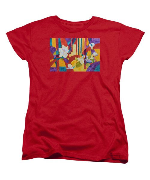 Women's T-Shirt (Standard Cut) featuring the painting Summer Magnolias by Nancy Jolley