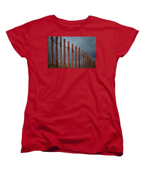 Women's T-Shirt (Standard Cut) featuring the photograph Summer Storm Beach Fence by Laura Fasulo