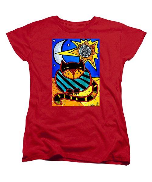Sun And Moon - Honourable Cat - Art By Dora Hathazi Mendes Women's T-Shirt (Standard Cut)