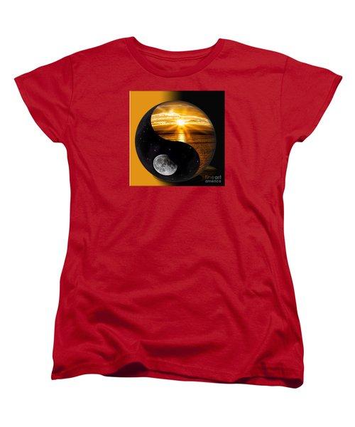 Sun And Moon - Yin And Yang Women's T-Shirt (Standard Cut) by Shirley Mangini