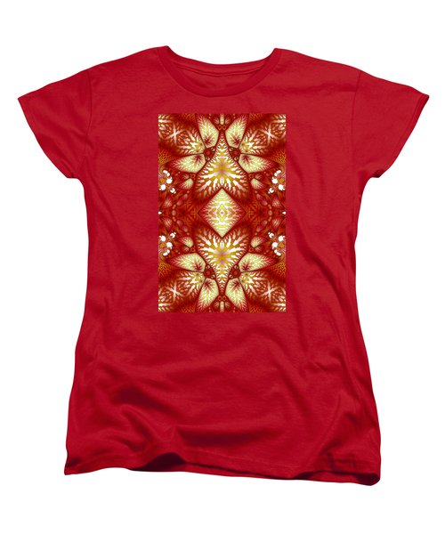 Sun Burnt Orange Fractal Phone Case Women's T-Shirt (Standard Cut) by Lea Wiggins