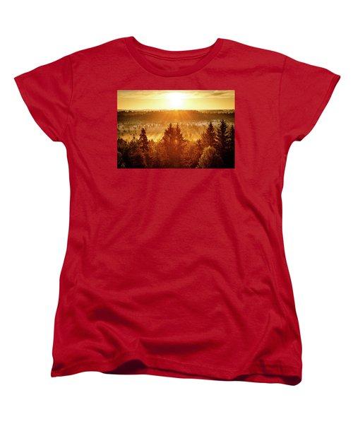 Sun Rising At Swamp Women's T-Shirt (Standard Cut) by Teemu Tretjakov