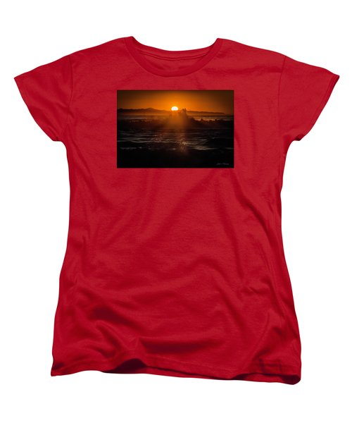 Women's T-Shirt (Standard Cut) featuring the photograph Sun Setting Behind Santa Cruz Island by John A Rodriguez