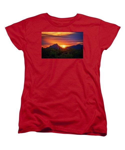 Women's T-Shirt (Standard Cut) featuring the photograph Sun Setting On Red Mountain  by Saija Lehtonen
