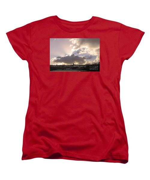 Sunbeams Over Church In Color Women's T-Shirt (Standard Cut) by Nicholas Burningham