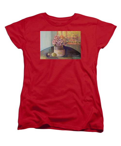 Women's T-Shirt (Standard Cut) featuring the painting Sunday Morning Roses Through The Looking Glass by Marlene Book