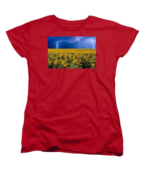 Women's T-Shirt (Standard Cut) featuring the photograph Sunflower Lightning Field  by James BO  Insogna