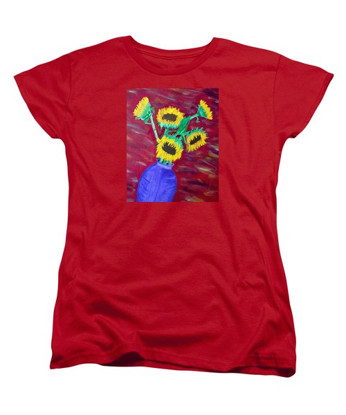 Women's T-Shirt (Standard Cut) featuring the painting Sunflowers In A Purple Vase by Brenda Pressnall