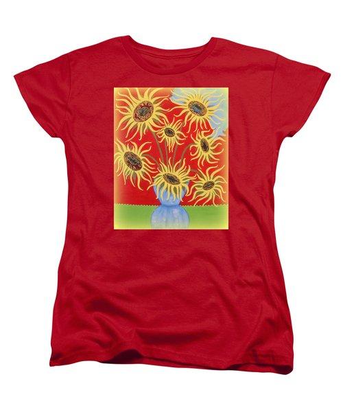 Sunflowers On Red Women's T-Shirt (Standard Cut) by Marie Schwarzer