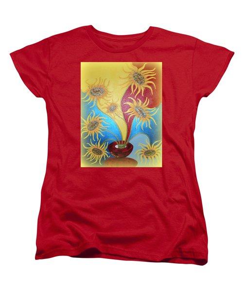 Sunflowers Symphony Women's T-Shirt (Standard Cut) by Marie Schwarzer