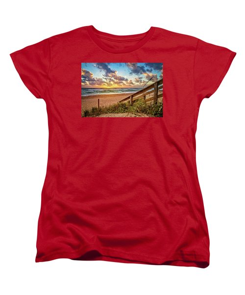 Women's T-Shirt (Standard Cut) featuring the photograph Sunlight On The Sand by Debra and Dave Vanderlaan