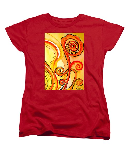 Women's T-Shirt (Standard Cut) featuring the painting Sunny Flower - Art By Dora Hathazi Mendes by Dora Hathazi Mendes