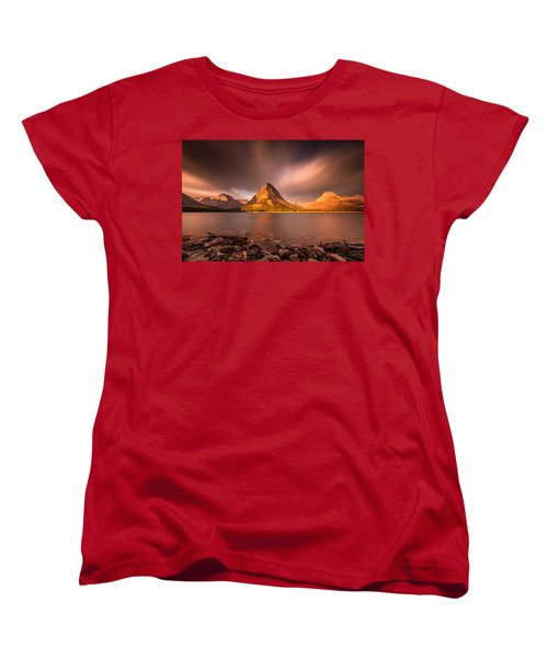 Women's T-Shirt (Standard Cut) featuring the photograph Sunrise In Glacier National Park by Pierre Leclerc Photography