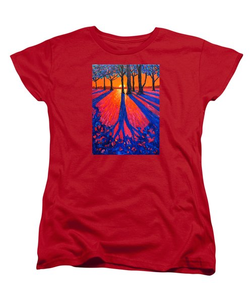 Sunrise In Glory - Long Shadows Of Trees At Dawn Women's T-Shirt (Standard Cut) by Ana Maria Edulescu