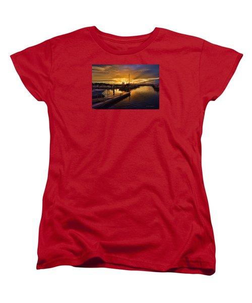 Women's T-Shirt (Standard Cut) featuring the photograph Sunrise Marina by Don Durfee