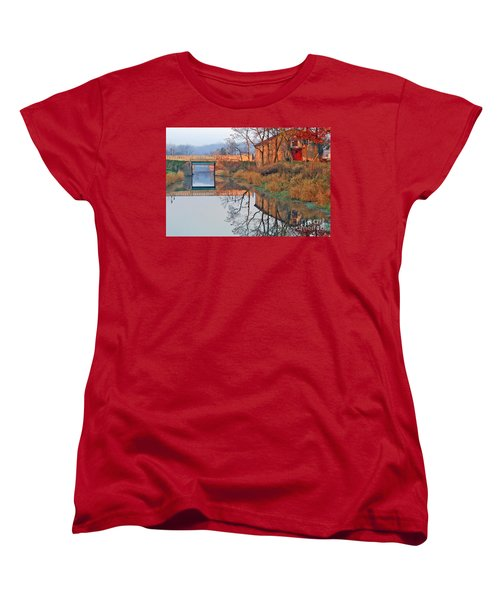 Sunrise On The I And  M Canal Women's T-Shirt (Standard Cut) by Paula Guttilla