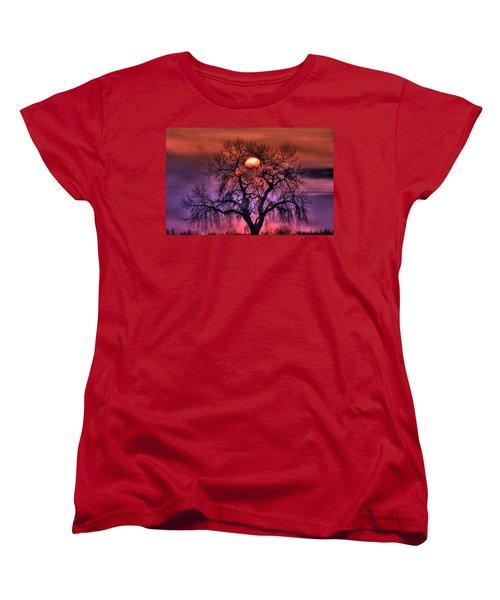Sunrise Through The Foggy Tree Women's T-Shirt (Standard Cut) by Scott Mahon